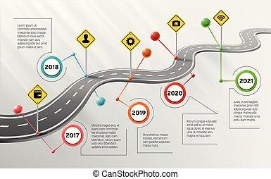infographic, timeline, vettore, sagoma, contrassegni