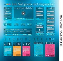 infographic, toile, en-têtes, film, coût, multimédia, icônes, player., conception, formes, footers, login, panneaux, panneaux, stuff: