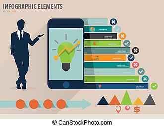 infographic, touchscreen, カラフルである, 提示, -, イラスト, ペーパー, ベクトル, デザイン, テンプレート, infographics, 装置, ビジネスマン, テンプレート