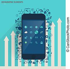 infographic, touchscreen, 현대, -, 삽화, 신청, 벡터, 디자인, 본뜨는 공구,...