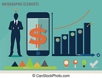 infographic, touchscreen, barwny, pokaz, -, ilustracja,...