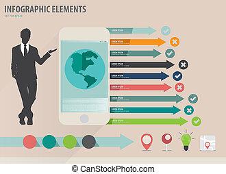 infographic, touchscreen, colorido, actuación, -, ilustración, papel, vector, diseño, plantilla, infographics, dispositivo, hombre de negocios, plantilla