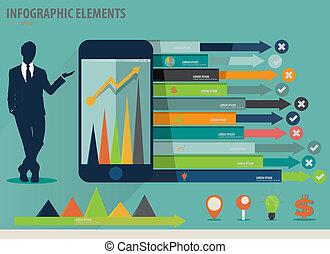 infographic, touchscreen, coloridos, mostrando, -,...