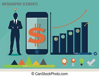 infographic, touchscreen, coloridos, mostrando, -, ...