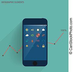 infographic, touchscreen, modernos, -, ilustração,...
