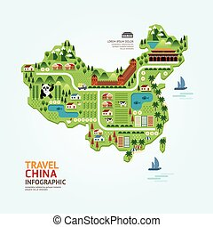 Infographic travel and landmark china map shape template...