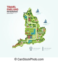 Infographic travel and landmark England,United Kingdom map shape template design. country navigator concept vector illustration / graphic or web design layout.