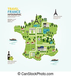 Infographic travel and landmark france map shape template design. country navigator concept vector illustration / graphic or web design layout.
