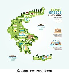 Infographic travel and landmark greece map shape template...