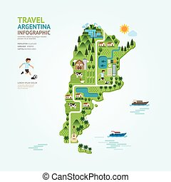 Infographic travel and landmark argentina map shape template design. country navigator concept vector illustration / graphic or web design layout.