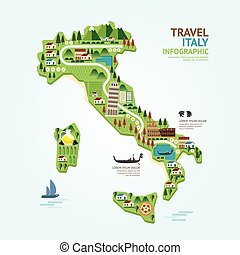 Infographic travel and landmark italy map shape template design. country navigator concept vector illustration / graphic or web design layout.