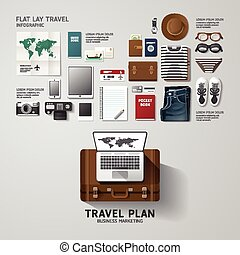 Infographic travel business flat lay idea. Vector illustration hipster concept. can be used for layout, advertising and web design.