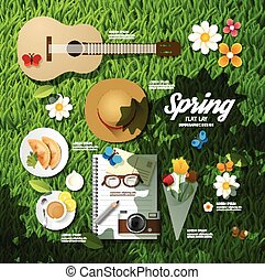 Infographic travel planning a spring vacation business flat lay idea. Vector illustration hipster concept. can be used for layout, advertising and web design.