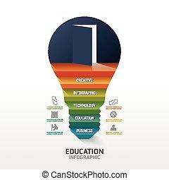 infographic, treten, auf, glühlampe, form, idea., vektor,...