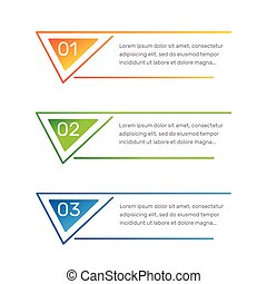 Infographic triangular shape colorful numbers from 1 to 3 and text columns vector illustration.