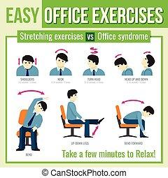 infographic, ufficio, character., vettore, esercizi, uomo ...