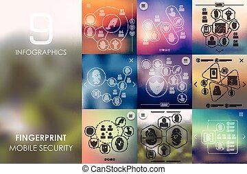 infographic, unfocused, fundo, impressão digital