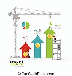 infographic, væv, begreb, held, firma, graph, grafik, pil, illustration, design.building, vektor, konstruktion, /, skabelon, layout., eller
