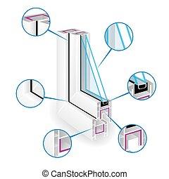 infographic, vecteur, cadre, illustration, plastique, fenêtre, profile., structure, templeate.