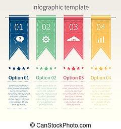 infographic, vecteur, gabarit, coloré, ribbons.