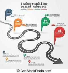 infographic, vecteur, illustration., route, layout.