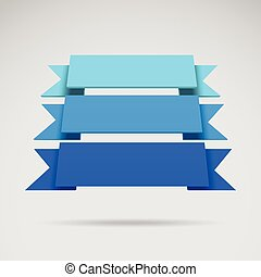 Infographic vector 3D blue ribbons