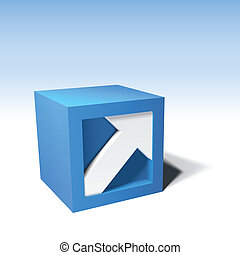 Infographic vector 3D cube with arrow