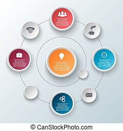 infographic., vector, cirkel, communie