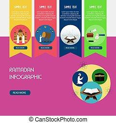 infographic., vector, ilustración, ramadan, diseño