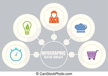 Infographic vector template for business and education presentation, diagram, workflow concept with 5 options