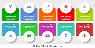 Infographic vector template for presentation, chart, diagram, graph, business concept with 10 options