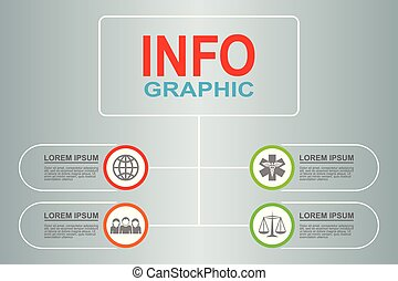 Infographic vector template for presentation, chart, diagram, graph, business,  health care concept with 4 options
