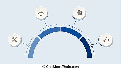Infographic vector template for presentation, chart, diagram, graph, business travel concept with 4 options