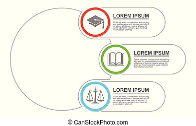 Infographic vector template for presentation, chart, diagram, graph, education, business concept with 3 options.