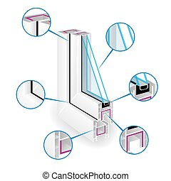 infographic, vektor, rahmen, abbildung, plastik, fenster, profile., struktur, templeate.