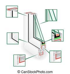 infographic, vektor, rahmen, abbildung, plastik, fenster, profile., templeate.