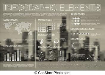 infographic, vektor, sæt, transparent, elementer