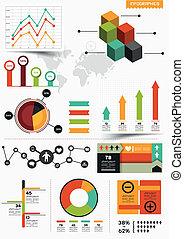 infographic, vektor, satz