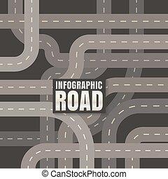 infographic, vetorial, experiência preta, desenho, estrada