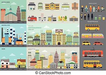 infographic, vida cidade, elementos, transporte
