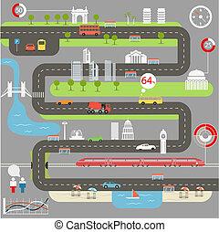 infographic, ville, résumé, éléments, carte