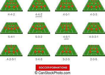 infographic, vrijstaand, verzameling, vector, formaties, mal, voetbal, white.