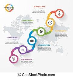infographic, walory, przemysł, diagrams., strony, wykres, abstrakcyjny, wykresy, handlowy, wykształcenie, pojęcie, szablon, 6, kroki, kreska, processes., opcje, nauka