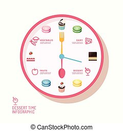 Infographic watch and bakery flat icons idea. Vector illustration. eatting time concept. can be used for layout, banner and web design.