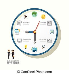 Infographic watch and flat icons idea. Vector illustration. business time to success concept. can be used for layout, banner and web design.