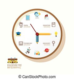 Infographic watch and flat icons idea. Vector illustration. education time concept. can be used for layout, banner and web design.