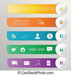 infographic., web, elemento, ribbon., bandiera, icone