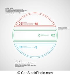 Infographic with circle divided to three color parts from double outlines