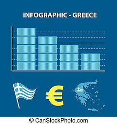 infographic with graph of decrease business of greece, greek trade
