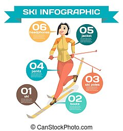 Infographic with woman cross-country skiing winter sports. Cartoon style vector illustration